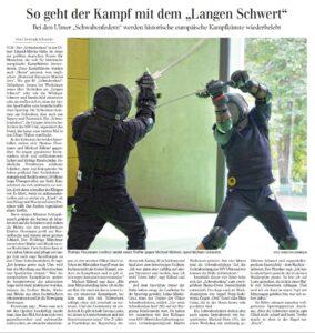 Pressebericht der Schwäbischen Zeitung über den Kampf mit dem Langen Schwert bei den Schwabenfedern von 2019.