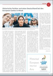 Wir im Blick Artikel über die Teilnahme der Ulmer Schwabenfedern bei den Europaspielen 2019 in Minsk.