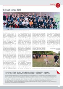 Wir im Blick Artikel über den Schwabenhau 2018 der Ulmer Schwabenfedern, eines der größten HEMA-Events Deutschlands.